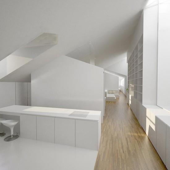 Diseño interior de una cocina - salón en Burgos