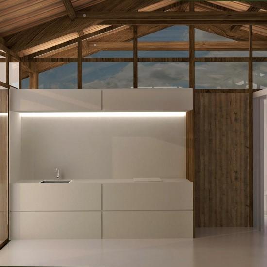 Interior de la cocina de la casa de madera