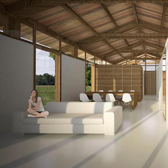 Interiores de la casa ecológica de madera