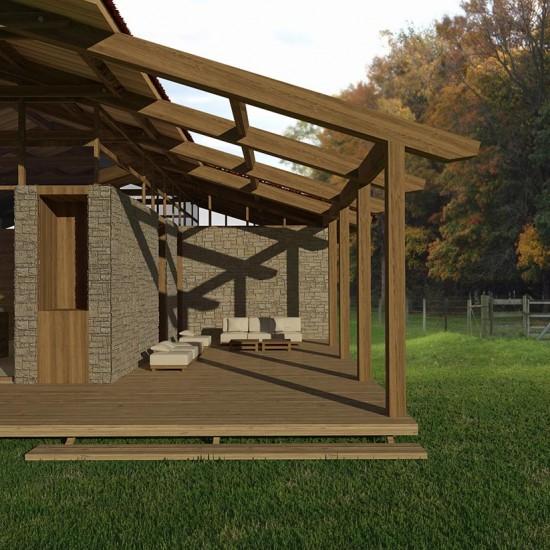 Arquitectura de casa de madera sustentable