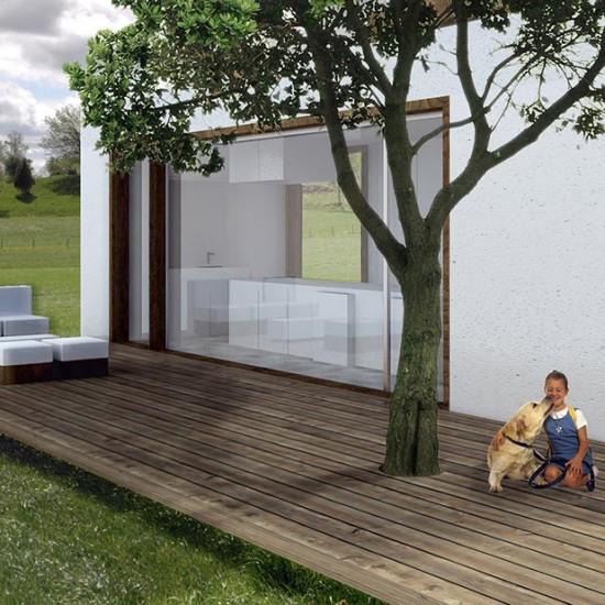 Exterior de la casa modular sostenible