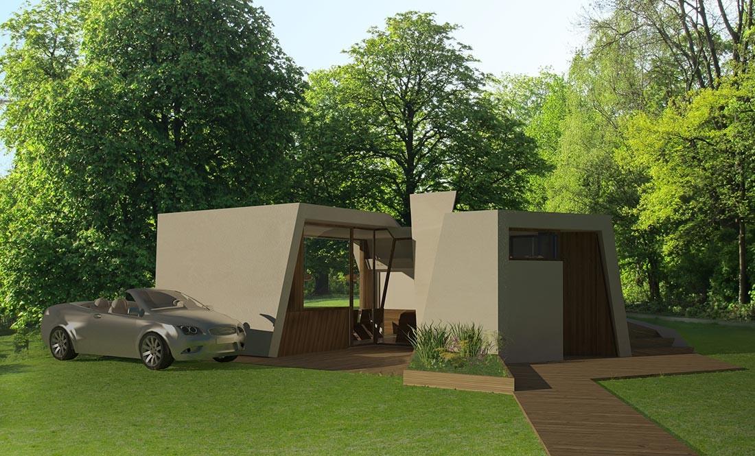 Porche de la casa pasiva modular en madera