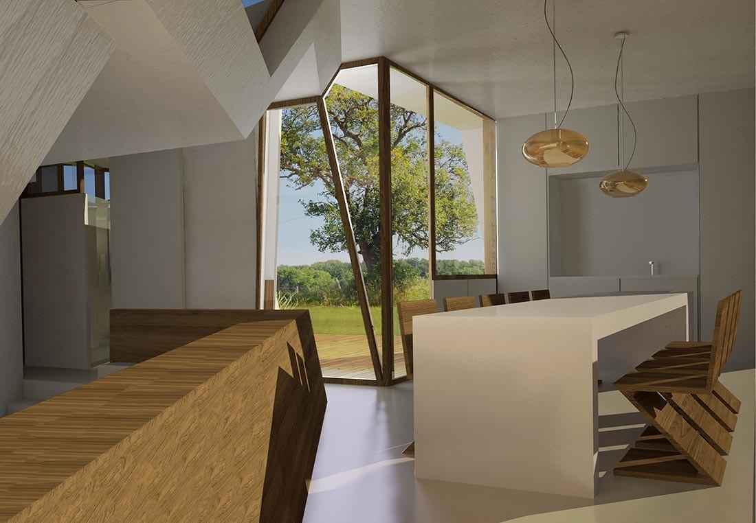 Diseño interior con madera en la Passivhaus