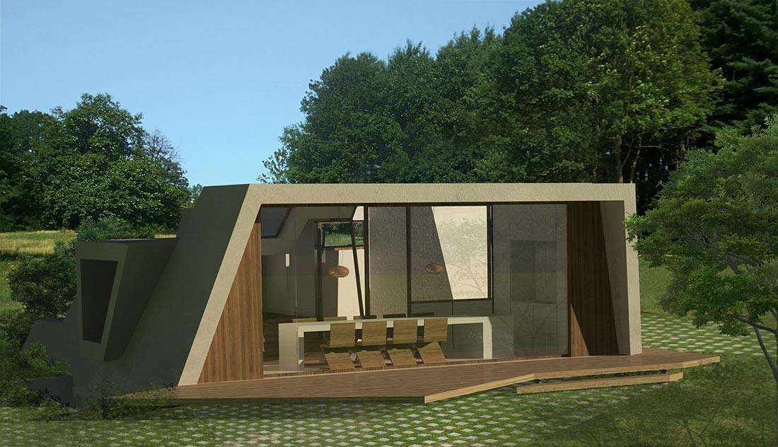 Vistas de la casa pasiva de madera sustentable