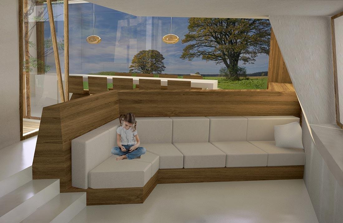 Salón en la casa de madera sostenible