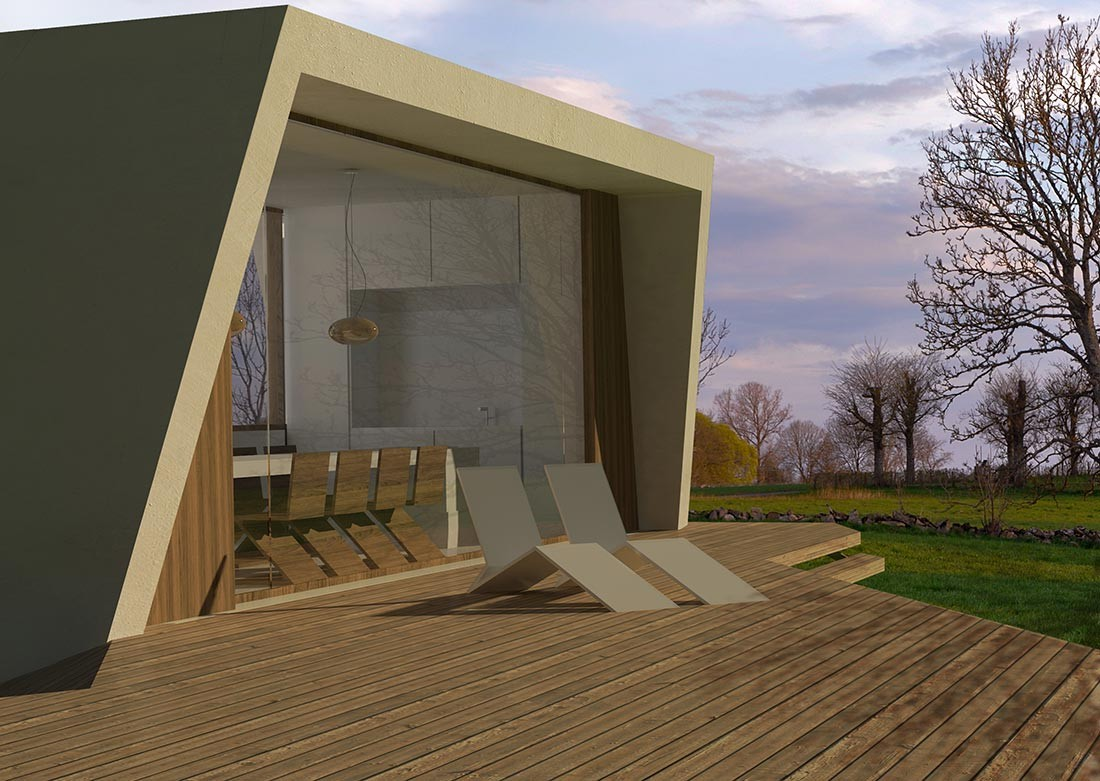 Terraza de la casa modular de madera